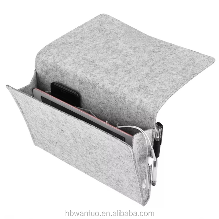 Home Felt Bed Sofa Storage Bag Hanging Arm Rest Organizer For Magazines Books Phone Remote Control Holder Bag