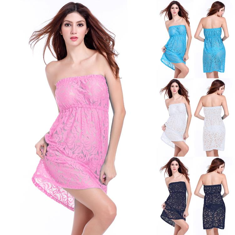 9802c74474 Get Quotations · 2015 hot-sale sexy Loose Strapless lace dress women Plus  size XXL Beach dress