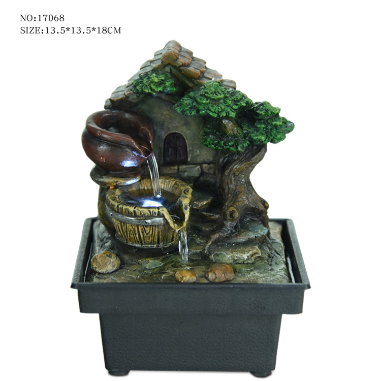 Popular Resin Tree House Indoor Battery Operated Table Top Fountains Statues