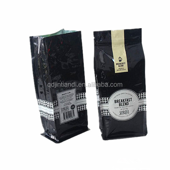 customized laminated four side seal color printed coffee beans bag