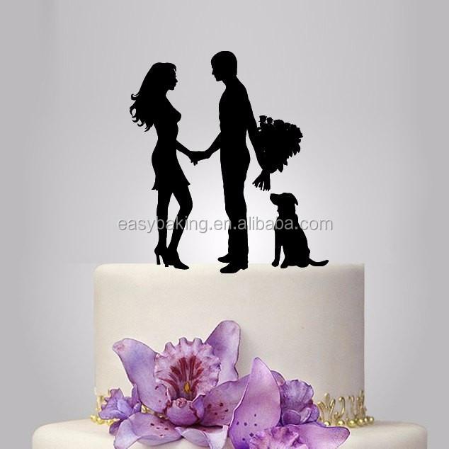 ECT-021 acrylic wedding Cake Topper Silhouette, your dog Wedding Cake Topper,couple silhouette wedding Cake Topper, acrylic cake topper.jpg