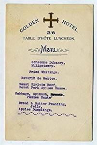 Golden Hotel Table D'Hote Luncheon Menu England 1950's