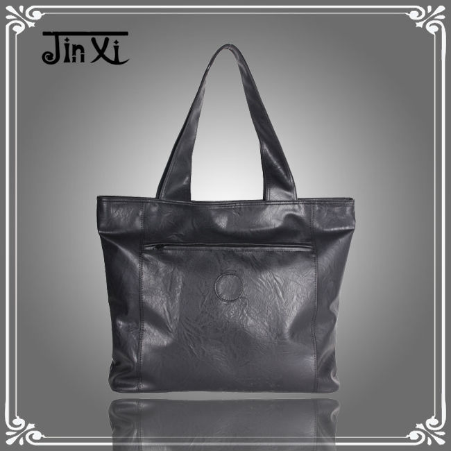 Black PU leather large totes shopping bag handbags