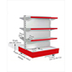 Double sided super shop retail display shelving supermarket rack