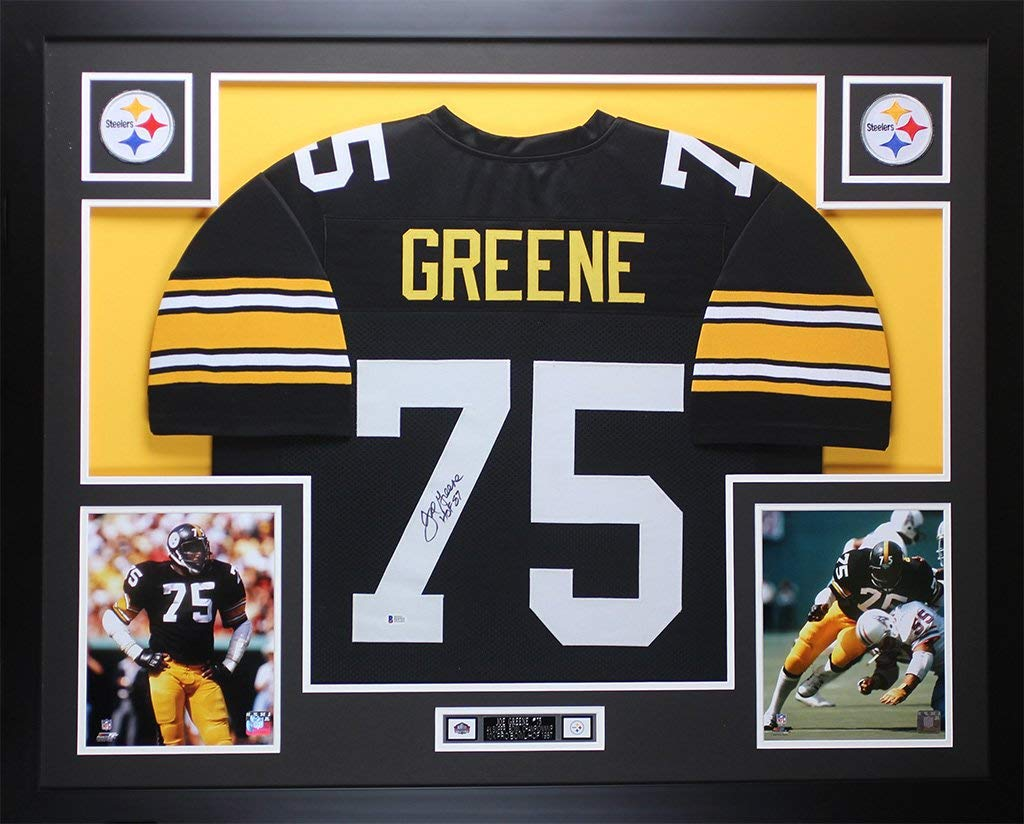 b81d40f6695 Joe Greene Autographed Black Steelers Jersey - Beautifully Matted and  Framed - Hand Signed By Joe
