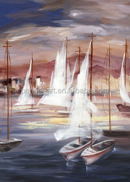 New Products 2016 Mass Production Decoration Oil Paintings of Sea boate
