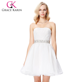 Grace Karin Mid-Thigh Strapless Sequins White Voile Cocktail Dress GK000143-1