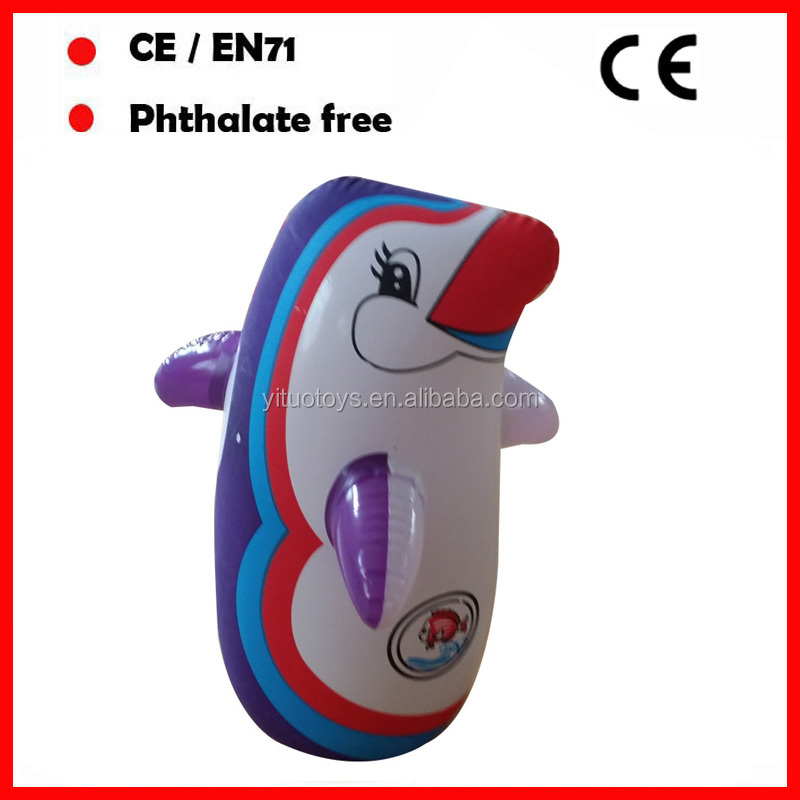 PVC promotional inflatable penguin tumbler for kids