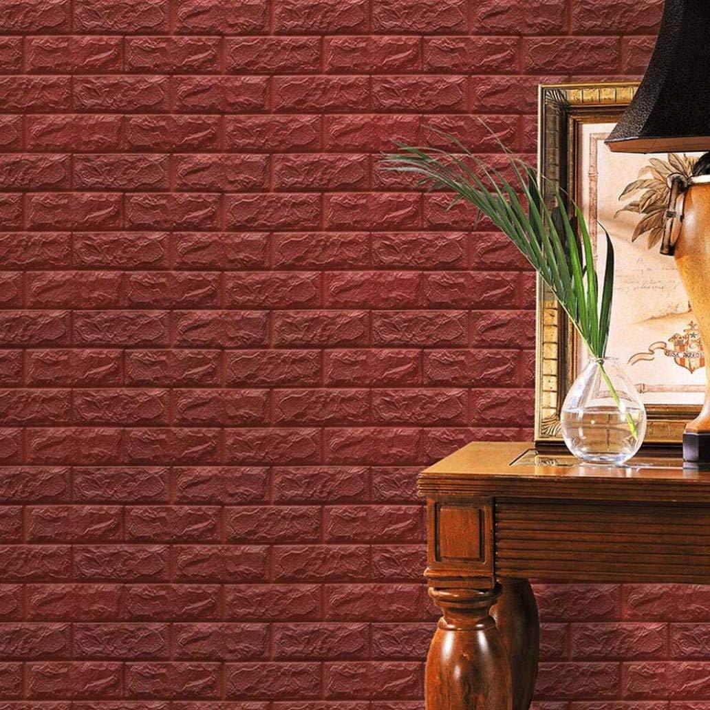 10X PE Foam 3D Wallpaper DIY Wall Stickers Wall Decor Embossed Brick Stone US