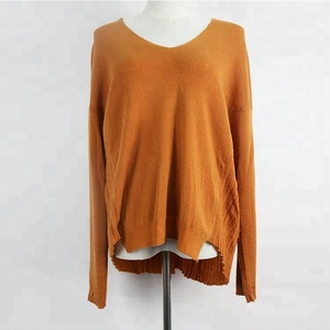 Stylish women soft woolen v-neck flat knit back vent rib sweater