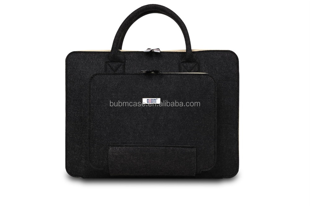 BUBM wool felt 13 inch black laptop computer bag