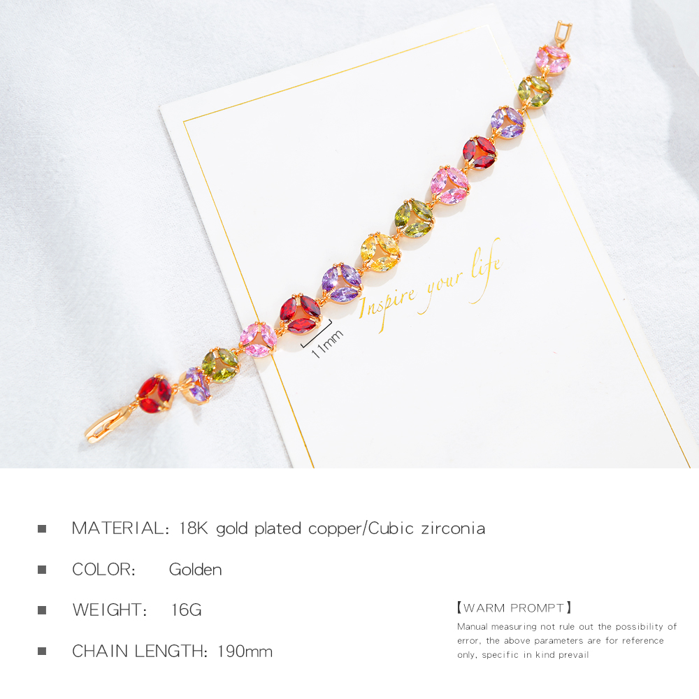 Wholesale Adjustable Women Jewelry Colorful Crystal Rainbow Tennis Bracelet