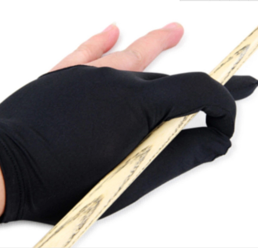 Professional 3 fingers billiards pool gloves black