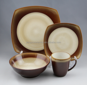 two tone special shape reactive glaze stoneware dinnerware set