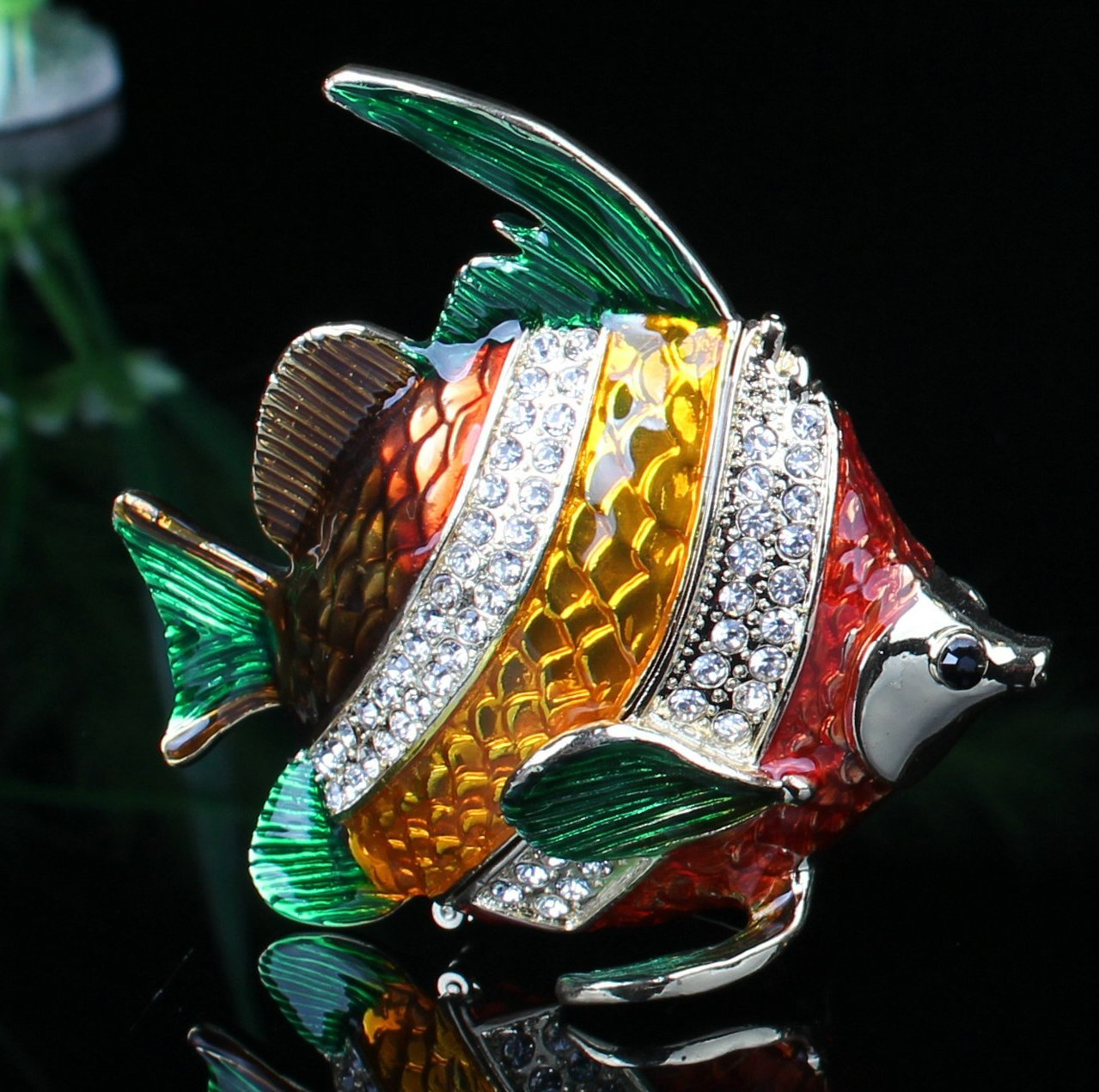 Colorful Angel Fish Crystals Jewelry Jewel Trinket Gift Box Fish Enamel Keepsake (8.5*4.2*8 CM (L*W*H))