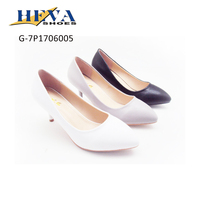 Womens Sexy Low Mid Kitten Heels Shoes PU Leather Pumps