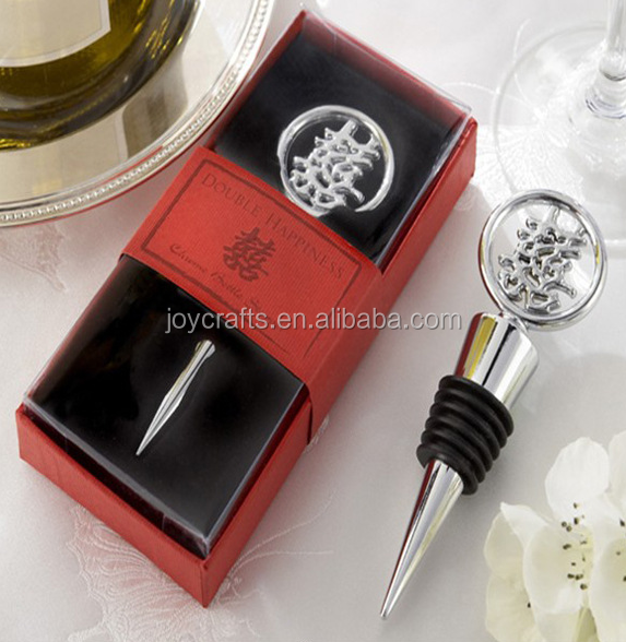 Wedding Door Gifts Red Box Theme Chinese Double Happiness Bottle Stopper