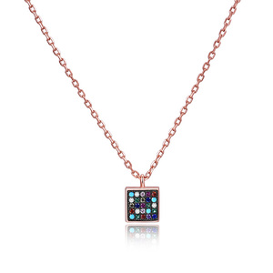 POLIVA Glowing Small Square Long Rose Gold Multi Gemstone Pendant Necklace Best Choice for Jeweler Wholesale