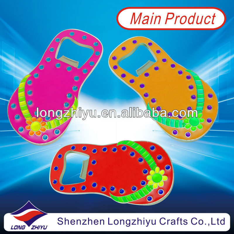 High Quality Custom Keychain Bottle Opener For Promotion Flip Flops Shape Opener With Soft Enamel