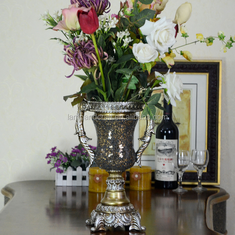 UK Antique Luxury resin Flower Vase With Gold Mosaic Vintage Home Wedding Decoration Folk Arts And Crafts Chinese Manufacturer