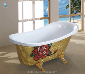 C6305E china wholesale high end golden bathtub with rose for fat people