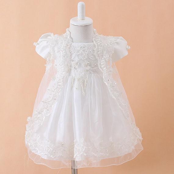 3pcs/set Infant Girl White Princess Lace Baptism Dress