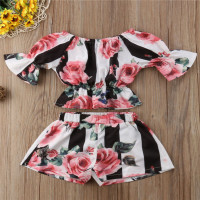 Fashion baby girls clothing Wholesale summer flower girls kids Clothes Sets children Boutique Clothes