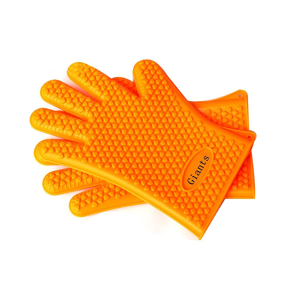 TelPal Double Orange Silicone Oven Mitts, 1 Pair, BBQ Insulated Gloves w/ 5-Finger Anti Slip Grip - Best for Grilling & Holding Hot Pots- Heat Resistant Up to 230° -Waterproof, BPA-Free & Eco-friendly