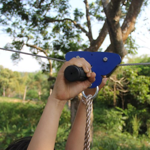 CTSC 95' Children ZipLine Cable Trolley Pulley is with BRAKE & SEAT a handlebar CE & RoHS certified