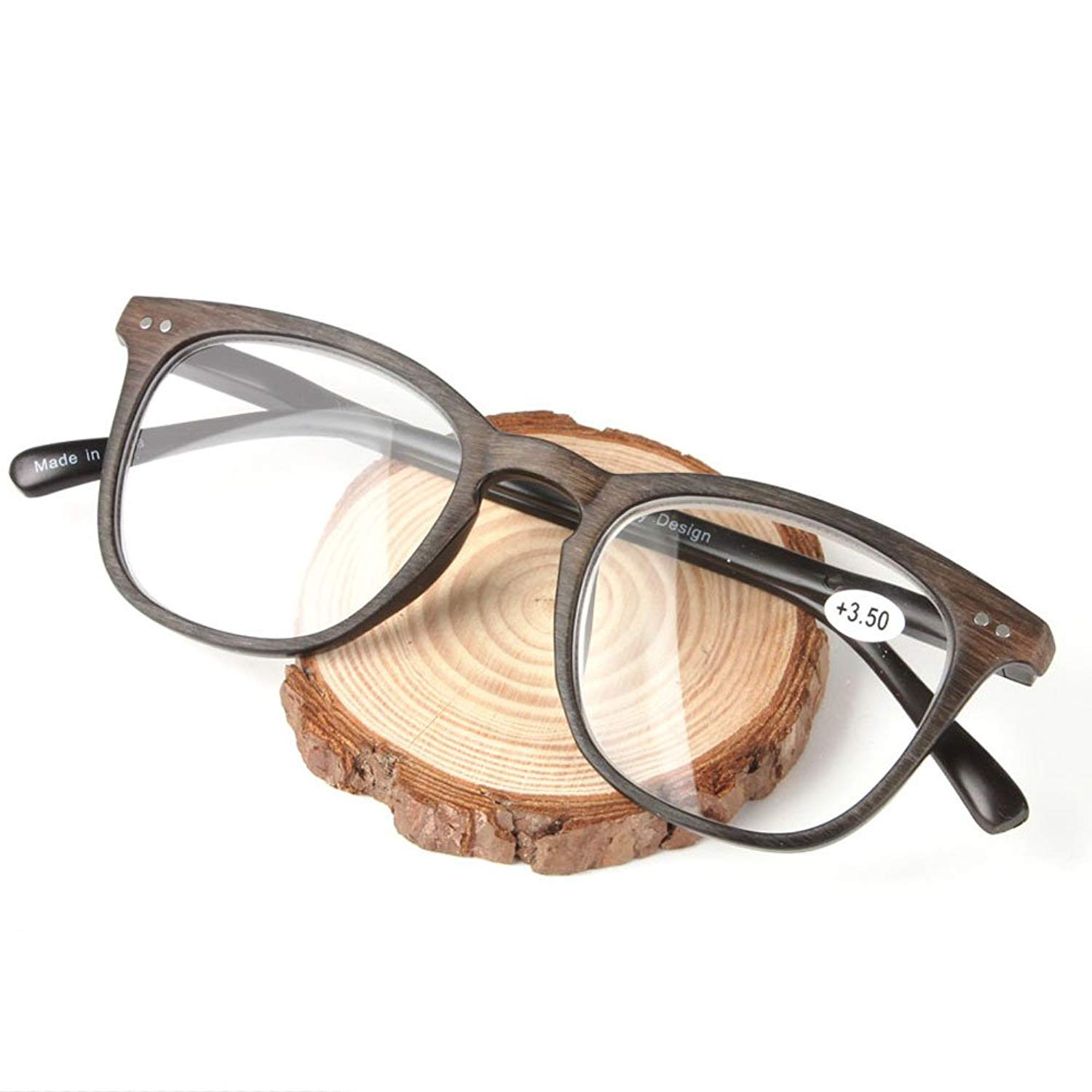 3b5c9984cc1 Get Quotations · Wood Grain Reading Glasses Men Women 2017 Vintage Resin  Lens Points for Male Reader +1.0