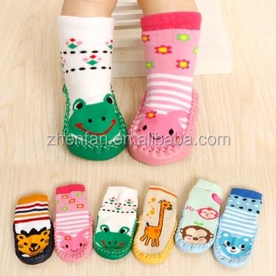Cartoon Animal Anti-slip Baby Floor Socks With Leather Sole
