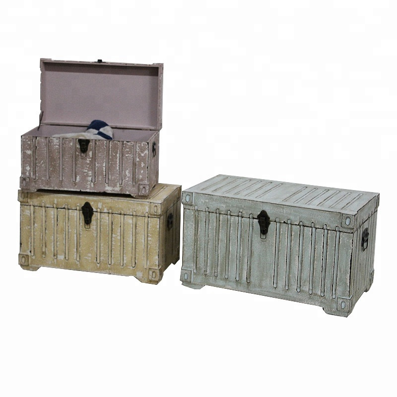 Set of 3 Nice Color Shabby Decorative Wooden Storage Trunk Box