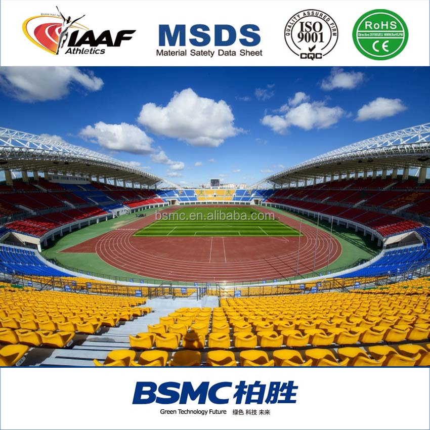 Guangzhou IAAF Approved Rubber Sport Flooring For 400 meters Running Track Field Construction