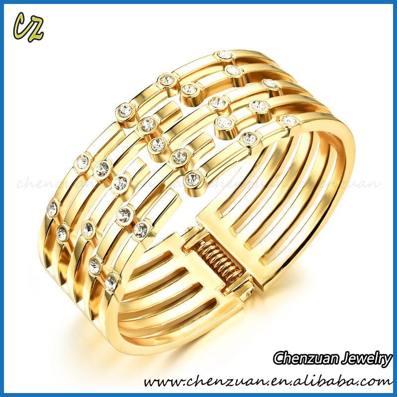 Women/'s Crystal Rhinestone 18K Gold Plated Bracelet Adjustable Bangles Jewelry
