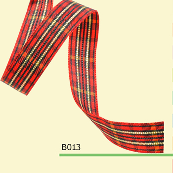 3/8 inch(9 mm)plaid ribbon for decoration