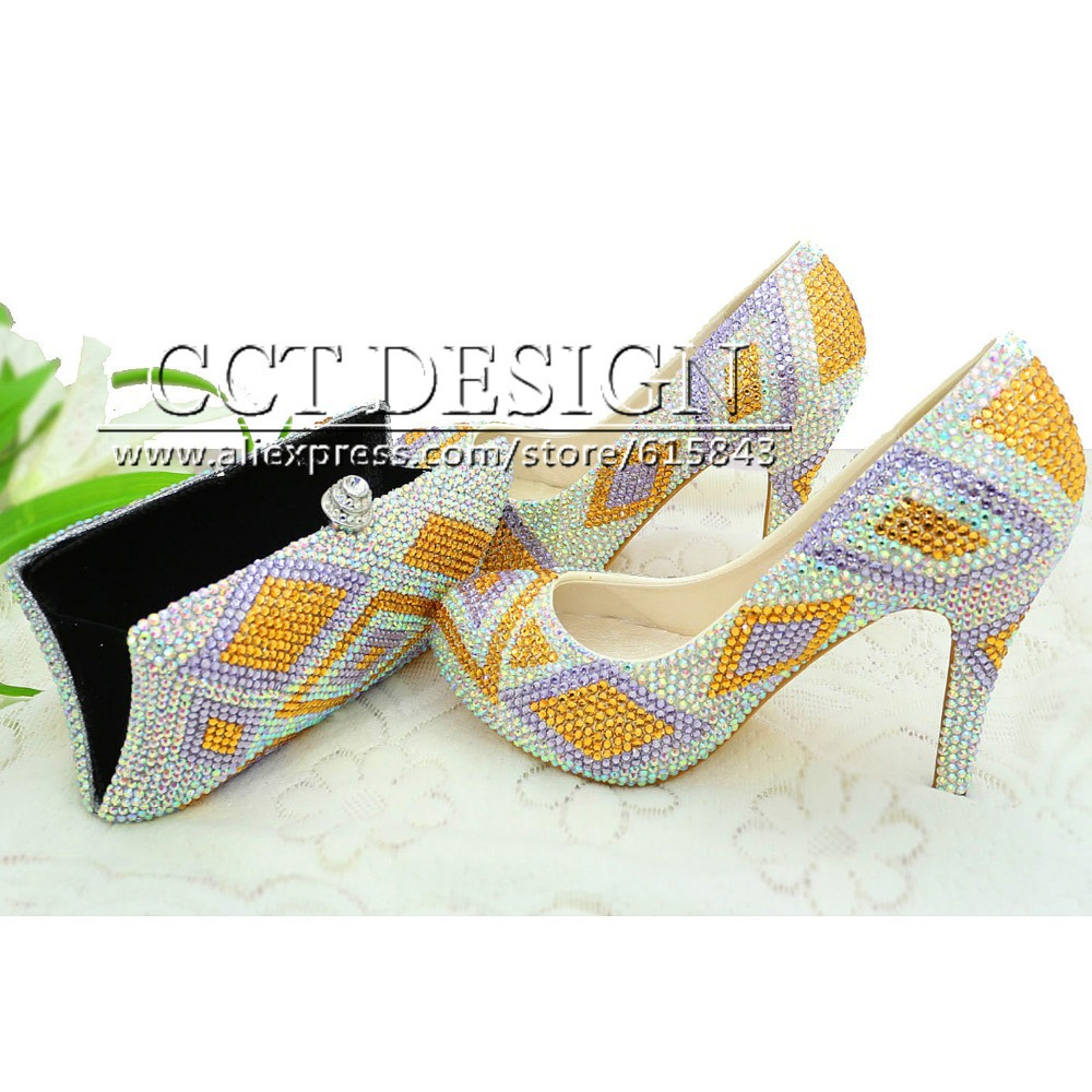 Something Glod Wedding Shoes Customized Sparkly Light Purple High Heels Platfrom Party Evening Shoes Italian Shoes And Bag Set