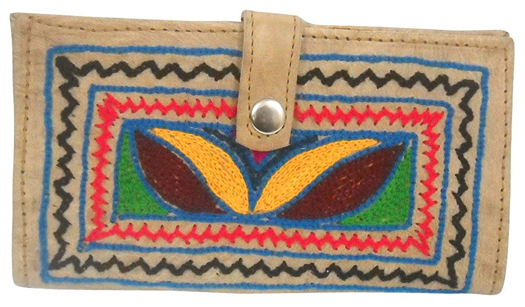Antique Handmade Multi Color Embroidered 100% Pure Camel Leather Hand Purse