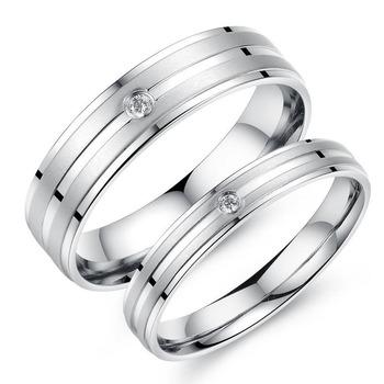 Titan Edelstahl Paar Ring Set Versprechen Verlobungsringe Kristall