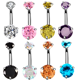 Navel Body Jewelry 316L Surgical Stainless Steel Belly Button Rings Piercing with Zircon