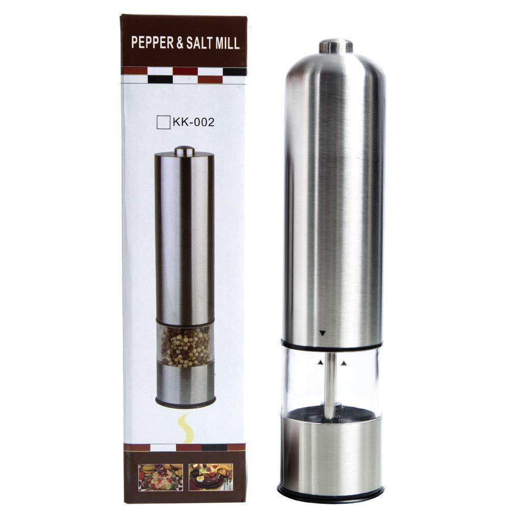 Pepper& Salt Mill with Adjustable Coarseness Stainless Steel Electric Pepper Grinder or Salt Grinder Mill Battery Operated