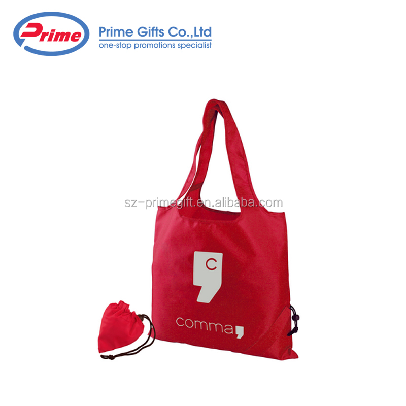 Custom Logo Printed 210D Polyester Foldable Shopping Bag