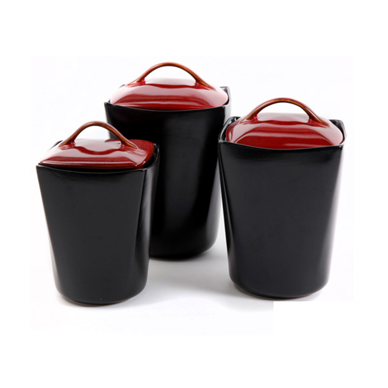 Red Lid Black Unique Kitchen Canisters Set - Buy Unique Kitchen Canisters  Set,Kitchen Canisters Set,Canisters Set Product on Alibaba.com