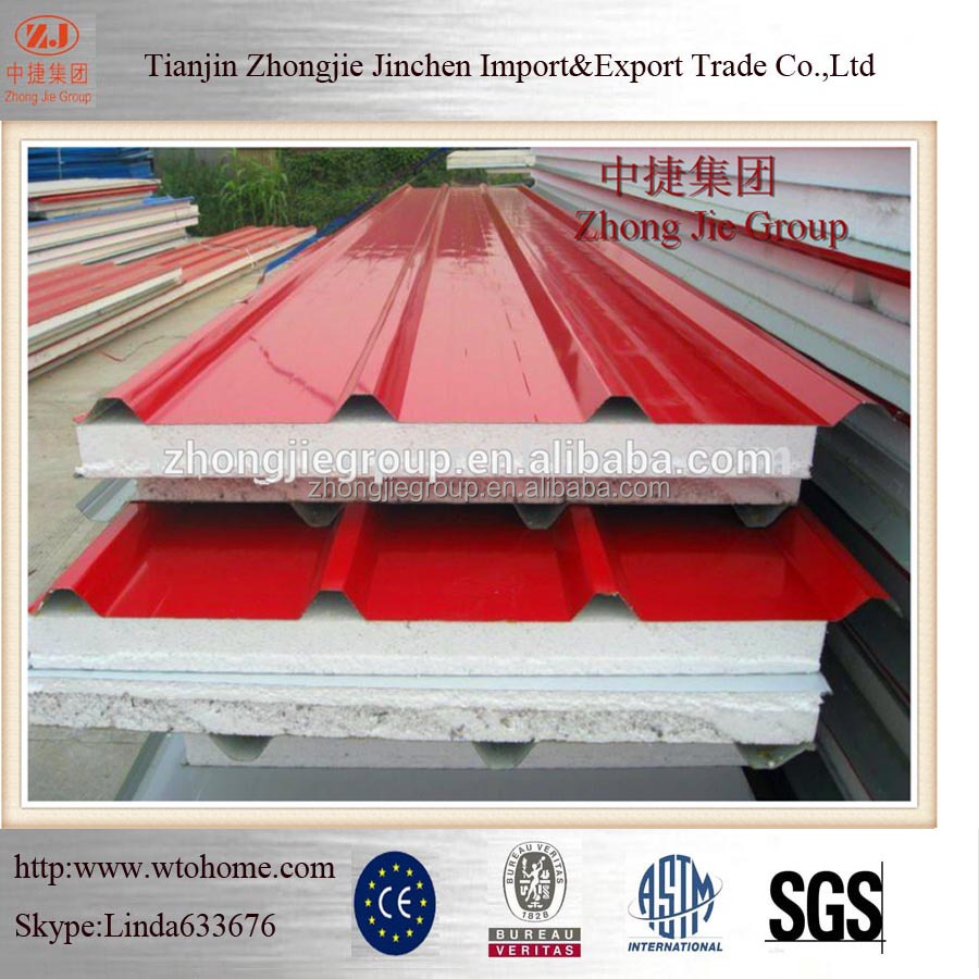 Roof EPS expanded polystyrene Sandwich Panels For Soundproof