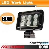 High power 60 watt led work light,black aluminum housing, spot or flood beam