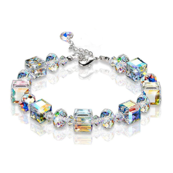 Amazon Romance Iridescence Square Crystal Elegant Jewellery Luxury Bracelet