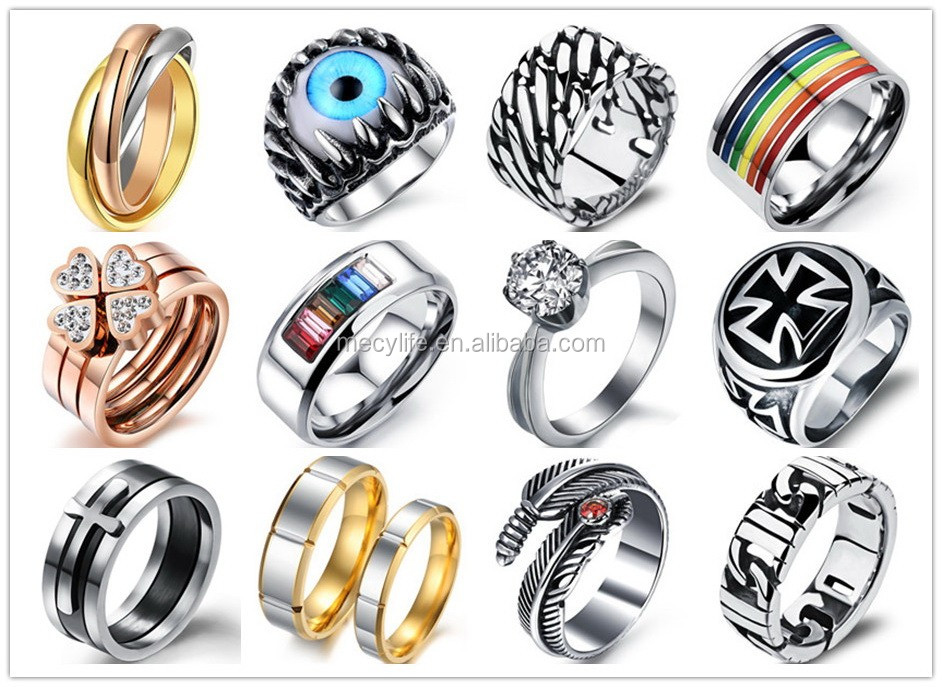 100pcs stripe mixed silver-gold-black fashion stainless steel jewelry rings