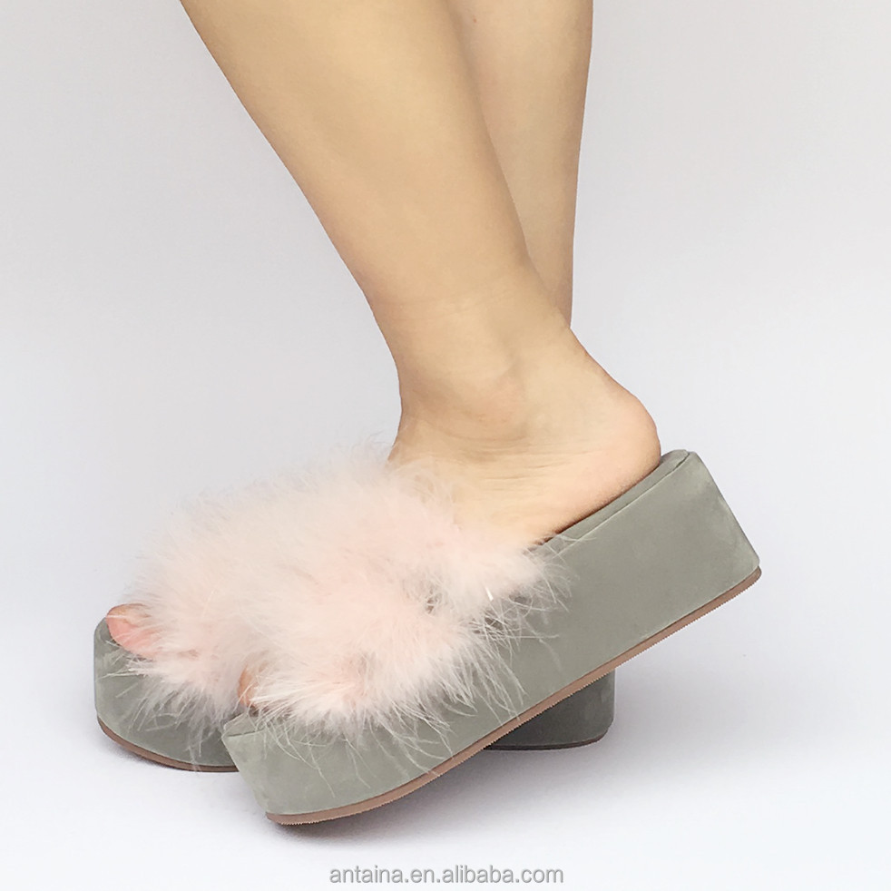 Best quality Queen sweet fur Sexy Shoes ladies suede wedge punk Fashion sandals ladies shoes shoes