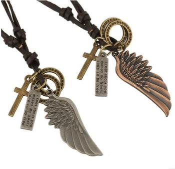 2018 New Product Leather Engraved Alloy Angel Wings Pendant Real Leather Mens Necklace
