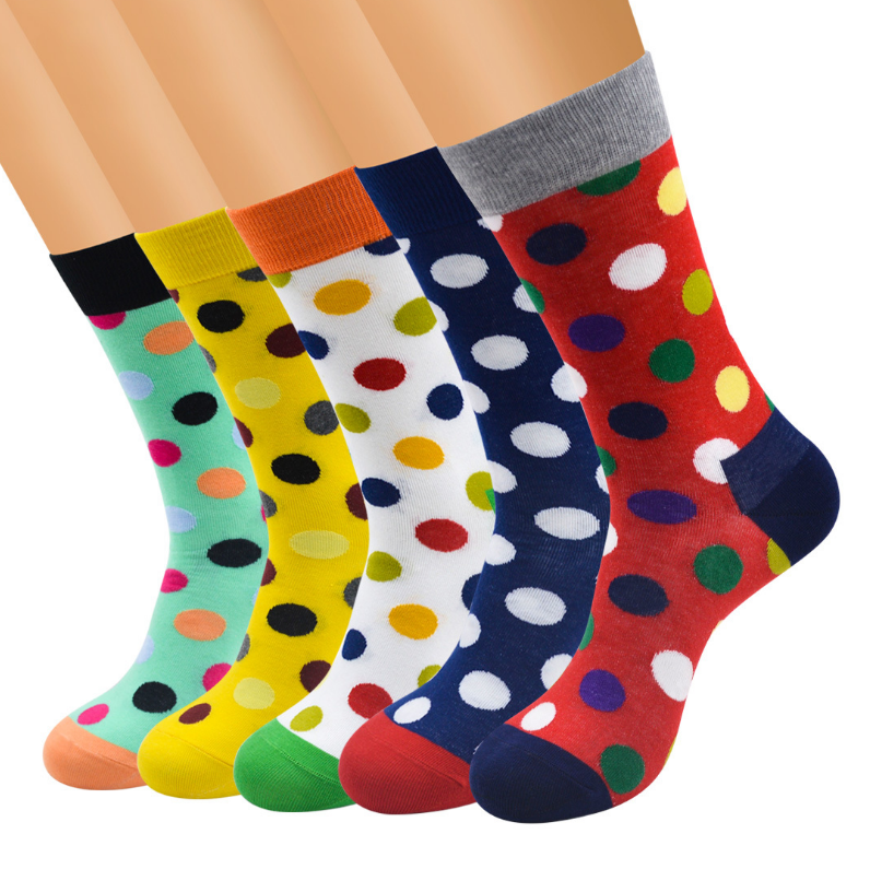 Wholesale popular dots design cotton knitted crew happy socks men
