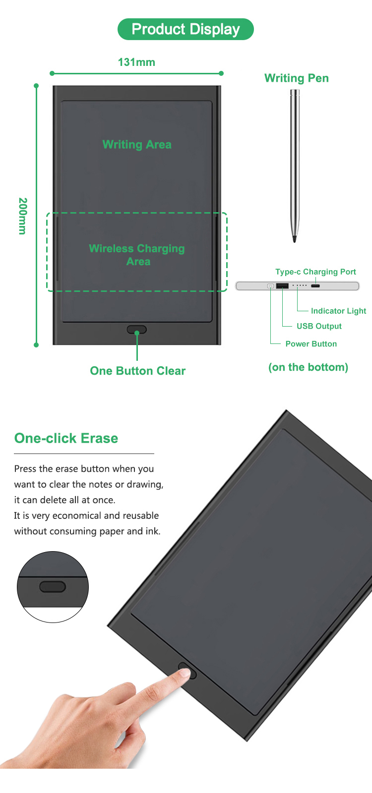 Newyes New Wireless Charging Powerbank 8 Inch Electronic Drawing Board USB Lcd Writing Tablet